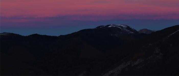 Coucher de soleil en montagne basque.